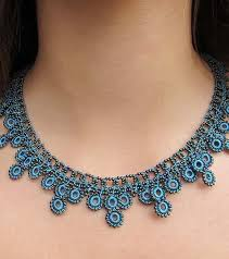 crochet jewelry necklace images Turquoise chic crochet necklace fair trade handmade high 5 humans jpg