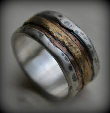 handmade wedding rings mens wedding band rustic silver copper and brass