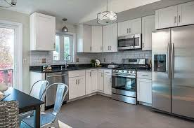 transitional kitchen with ms international babylon gray quartz