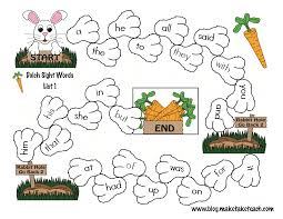 bunny hop sight word game boards make take u0026 teach education