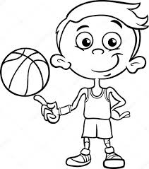 boy basketball player coloring page u2014 stock vector izakowski