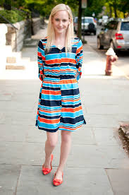 days in nyc bright persimmon navy and white striped dresses