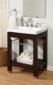 24 inch single sink square console bathroom vanity with white