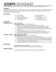 Sle Resume Objectives Tech resume for auto technicians sales technician lewesmr