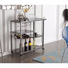 rolling bar cart black glass rack shelves modern kitchen island