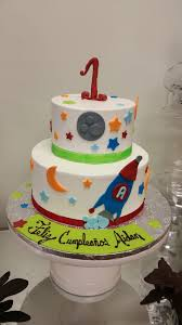 outer space rocket ship birthday cake buttercream with fondant