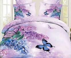 Lilac Bedding Sets 3d Butterfly And Lilac Printed Cotton Bedding Sets