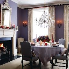 purple dining room color schemes with crystal chandelier and wall