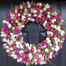 tulip wreath wreath door wreath decor tulip wreath outdoor