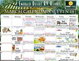 rv park and resort company offers march entertainment and travel ideas