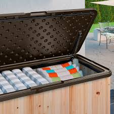 suncast hybrid wood and resin deck box 120 gallon deck boxes
