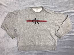 calvin klein jeans men u0027s extra large grey crew neck embroidered