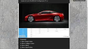 lexus lf lc release lexus lc 500 unofficial configurator v1 2 released now d