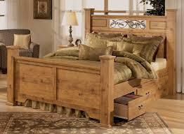 Wooden Framed Beds Rustic Pine Bedroom Furniture Brown Plank Wood Frame Bed Pine Tree
