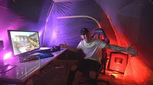 Gaming Setup Insane Outdoor Gaming Setup In A Tent Youtube