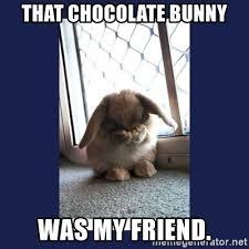 Chocolate Bunny Meme - that chocolate bunny was my friend sad bunny meme generator
