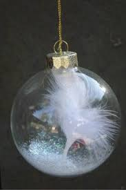 cool idea put white feathers and glitter inside a clear ornament