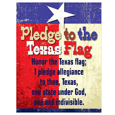 Texas Under Spain Flag Pledge To Texas Flag Poster