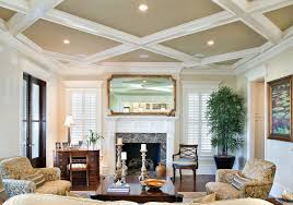 Traditional Interior Shutters Lighted Coffered Ceiling Living Room Traditional With Painted