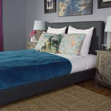 charcoal linen greir upholstered bed world market