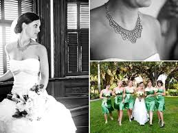 bridesmaid statement necklaces wears white lace strapless wedding dress and sparkly statement