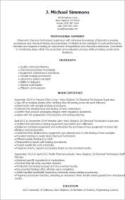 Engineering Technician Resume Sample by Professional Chemical Technicians Templates To Showcase Your