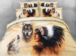 Wolf Bedding Set New American Indian Brave And Spirit Wolves 3d Bed Set Buy