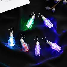 flashing christmas light bulbs 2018 new 1 pair led flashing football hat earrings glowing light