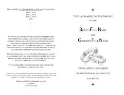 wedding programs template free catholic wedding program sle tbrb info