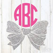 bow monogram glitter bottom bow monogram decal sew southern designs