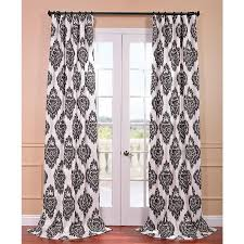 Black Ivory Curtains Hadley Ivory Damask Drapery Panel