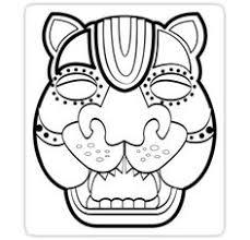 masks mexico color temple jaguar mayan ruins