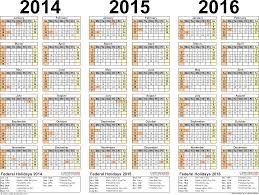 2014 2015 2016 calendar 4 three year printable pdf calendars