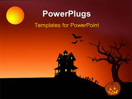 halloween red background powerpoint template halloween dark scenery with trees full