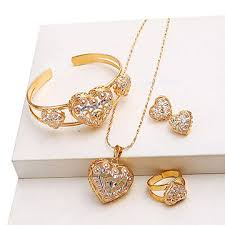 necklace jewellery set images China multicolor gold plated jewelry set with heart latest design jpg