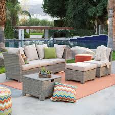 Swivel Wicker Patio Chairs by Coral Coast South Isle Natural Sectional Set With Coronado Gas
