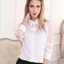 see thru blouse pics chiffon see through sleeve blouse shirt white l size