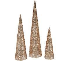 set of 3 sequined u0026 glittered graduated cone trees page 1 u2014 qvc com