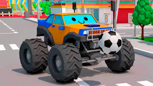 bigfoot presents meteor and the mighty monster trucks monster truck hit ball kids learning u0026 the tow truck cartoon for
