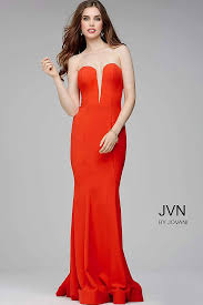 simple red long strapless prom dress with sweetheart neck and