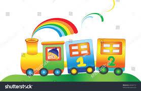 cartoon boy fairy rainbow train vector stock vector 49392115