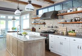 brick backsplash kitchen bianco pirgoni marble countertop transitional kitchen