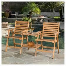 Acacia Wood Outdoor Furniture by Bernardo Acacia Wood Patio Adjoining Chairs Brown Patina