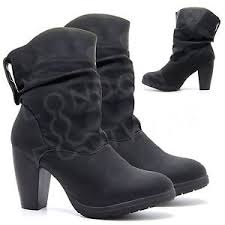 s heeled ankle boots uk womens slouch boots mid calf ankle high block heel