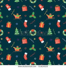 flat christmas wrapping paper seamless flat christmas pattern traditional decoration stock