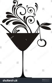 mixed drink clipart black and white silhouette cocktail splash cherry isolated on stock vector