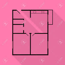 apartment house floor plans black icon with flat style shadow