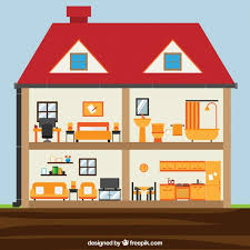 House Flat Design Interior Of House With Rooms In Flat Design Vector Free Download