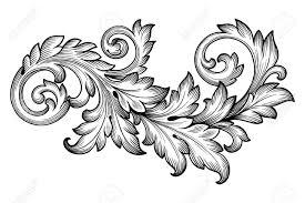 vintage baroque frame scroll ornament engraving border floral