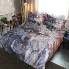 wolf bed set bedding set indian wolf warrior with feather dreamcatcher bed set